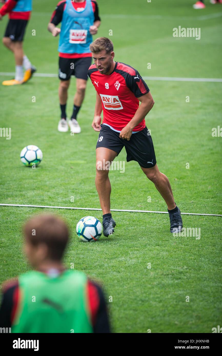 Pre-season training S.D Eibar. Ipurua Stadium. Preparation for the 2017/2018 League - Stock Image