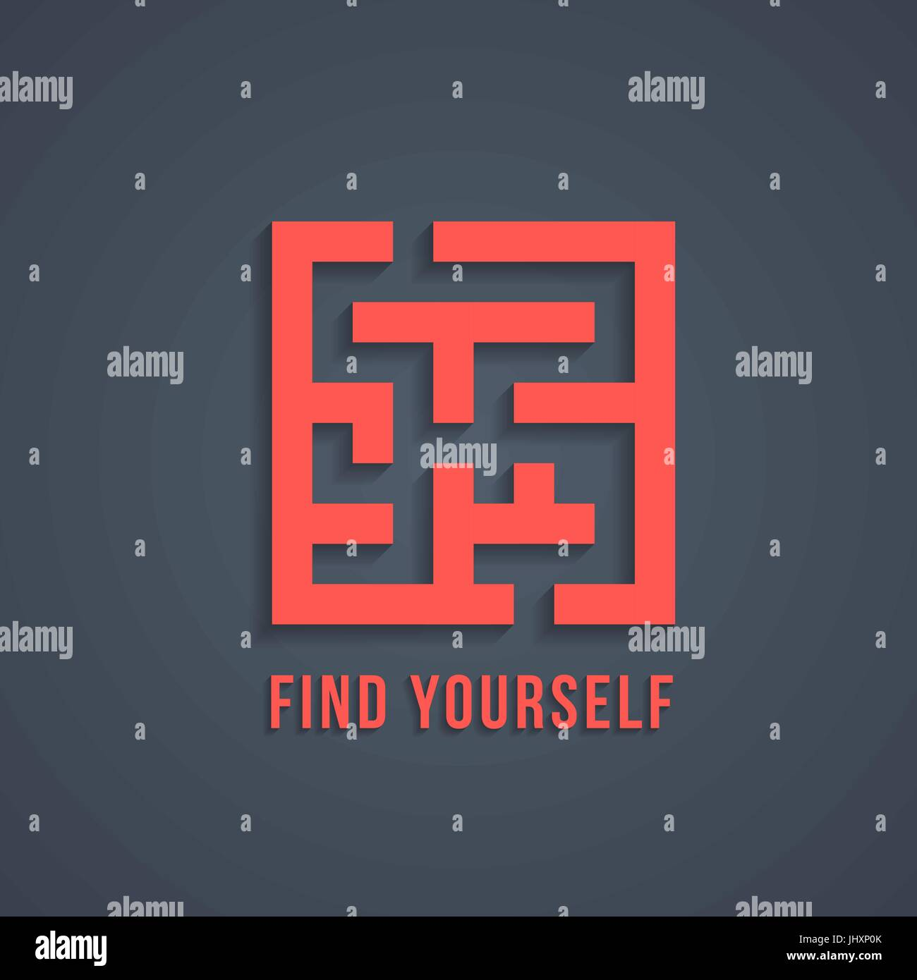 concept of find yourself with maze Stock Vector