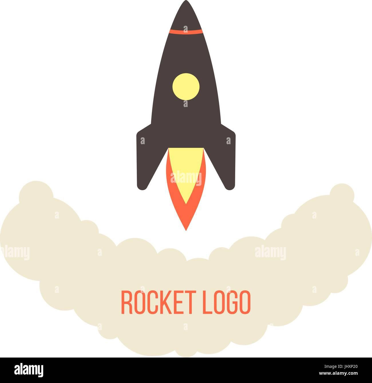 rocket launch logo isolated on white background - Stock Image