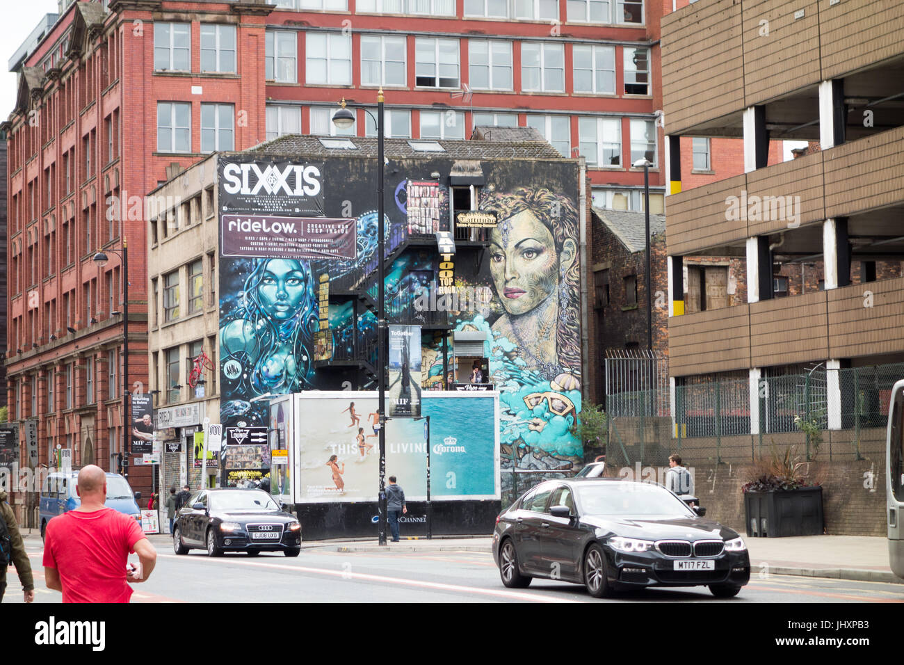 Giant Mural, Church Street in Manchesters Northen Quarter - Stock Image