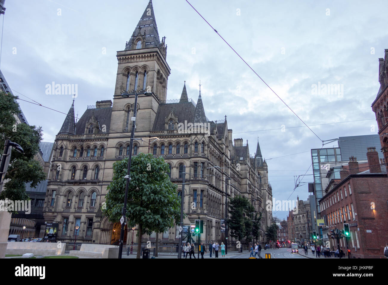 Manchester Town Hall, Manchester, UK - rear view in the evening - Stock Image