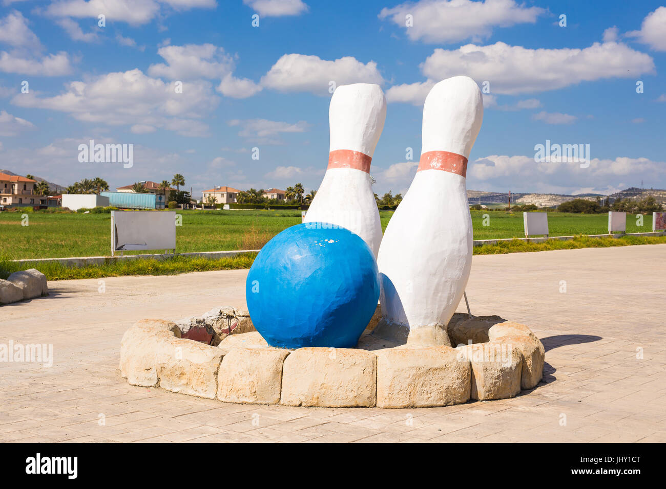 bowling and sports games concept giant skittles outdoor stock