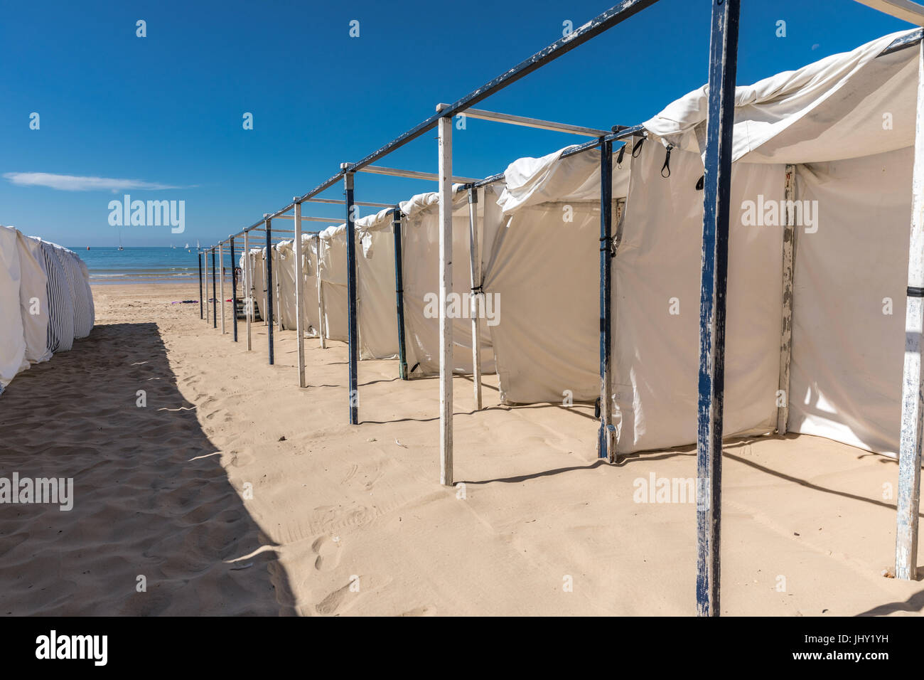 Tents on the beach of Les Sables d'Olonne beach in the France west coast - Stock Image