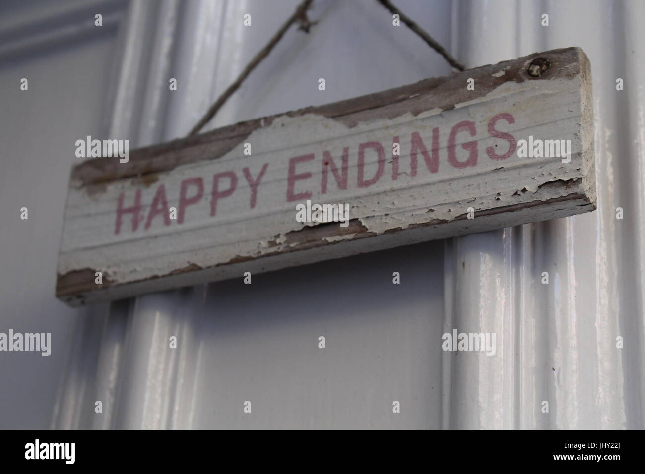 happy endings, happy ending, cute sign, shabby chic, wedding, wedding theme, sign, happy endings sign, matrimony, - Stock Image