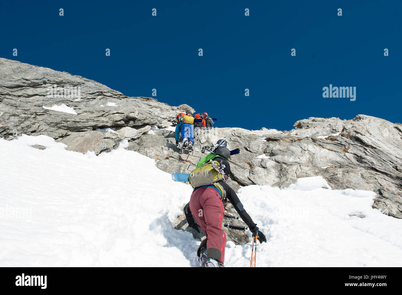 Sherpa from Nepal during a ski training camp in Disentis, Switzerland Stock Photo