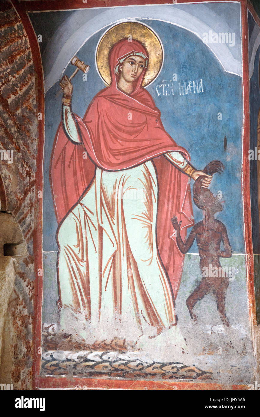 Frescoes of the Church of the Humor Monastery, District of Moldavia, Romania - Stock Image