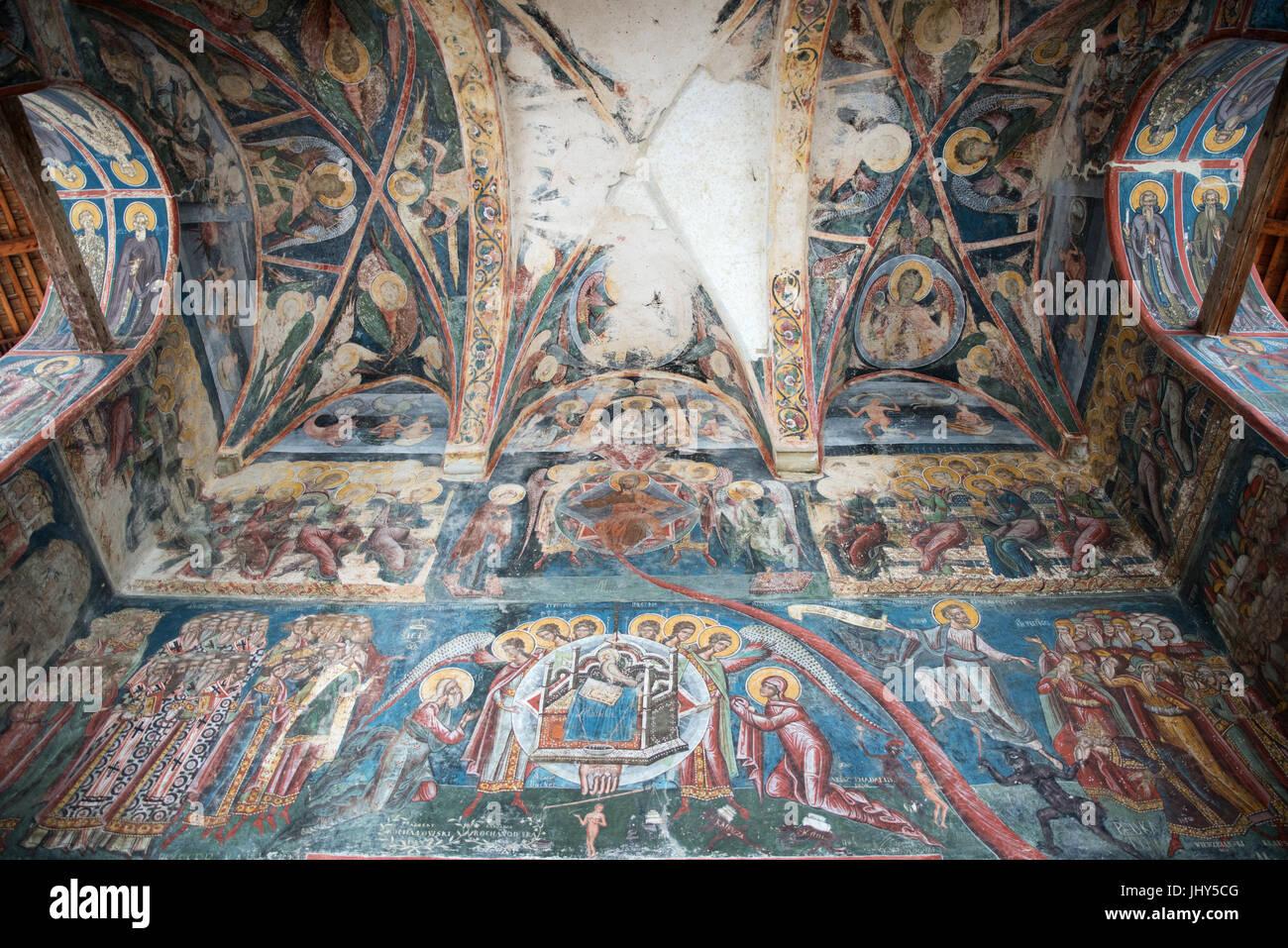 Frescoes on the ceilings of the Church of Moldovita Monastery, Romania - Stock Image