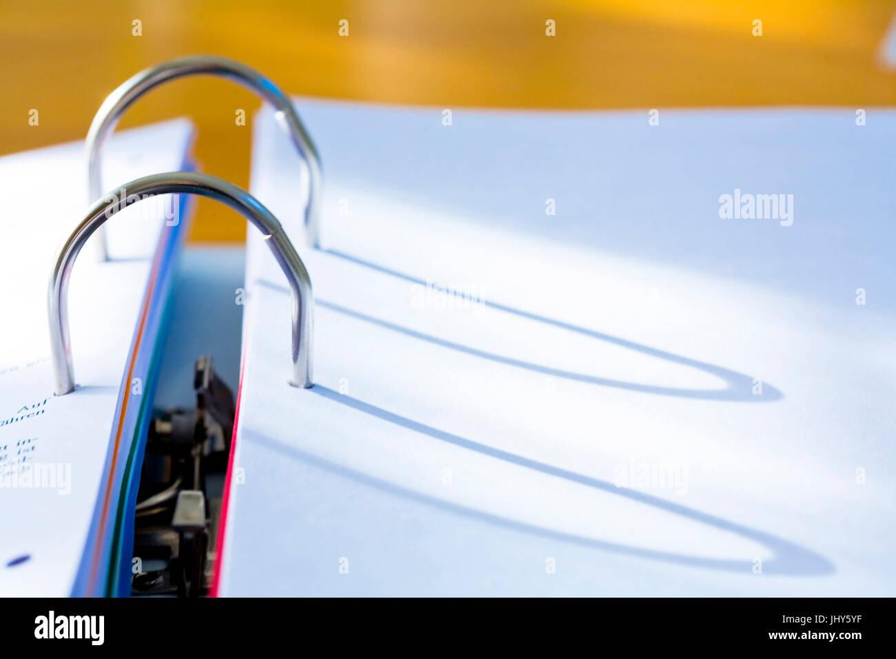 Folder - clamp mechanism, Ordner - Klemmmechanismus Stock Photo