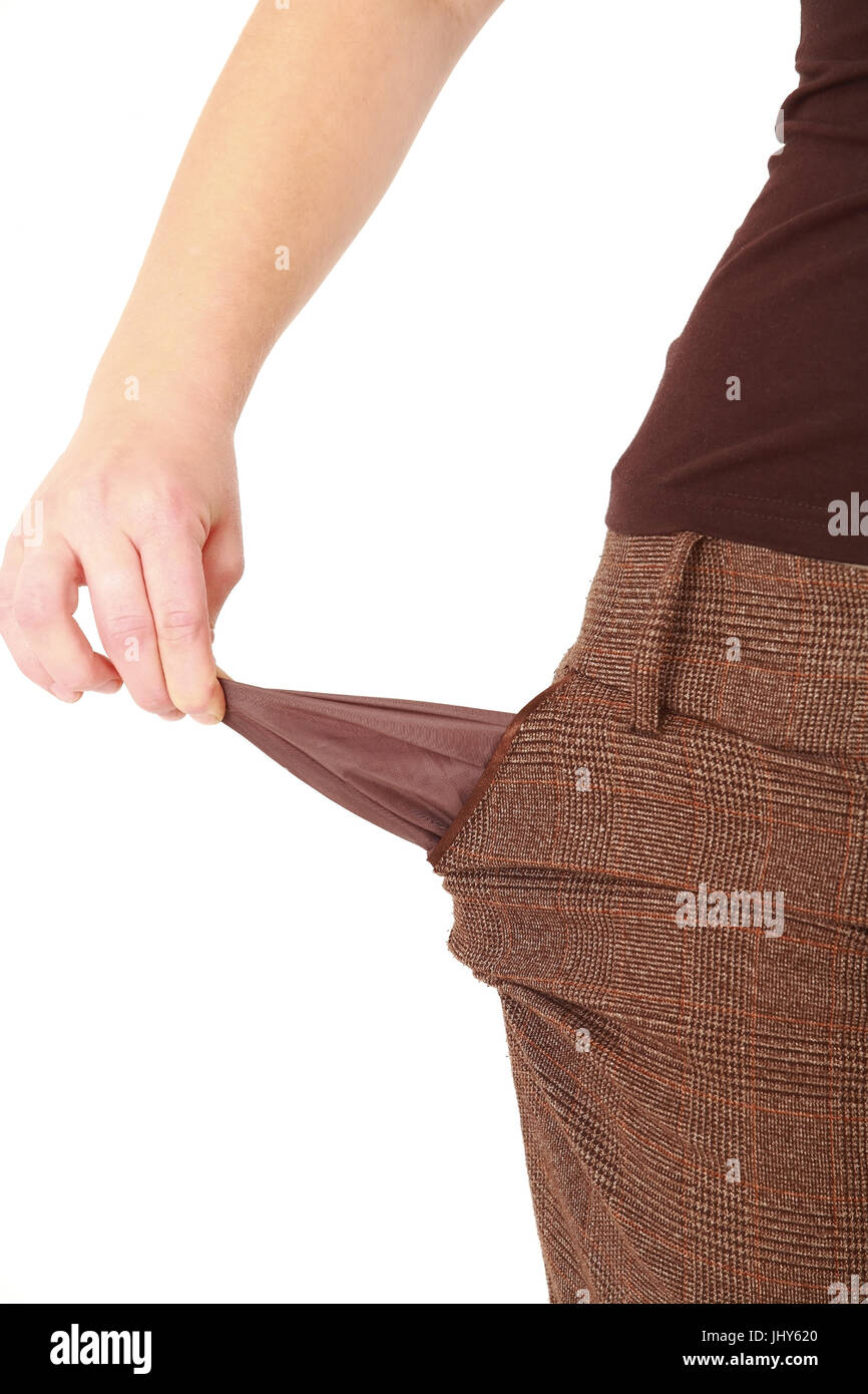 empty pockets, private insolvency - empty pockets, leere Taschen, Privatinsolvenz - empty pockets - Stock Image