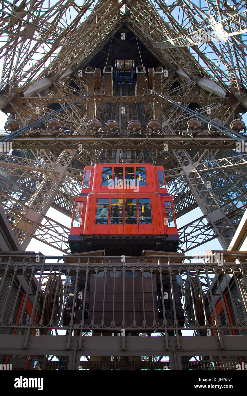 Lift in the Eiffel Tower, Paris, France - lift in Eiffel Tower, Paris, France, Aufzug im Eiffelturm, Frankreich - Stock Image