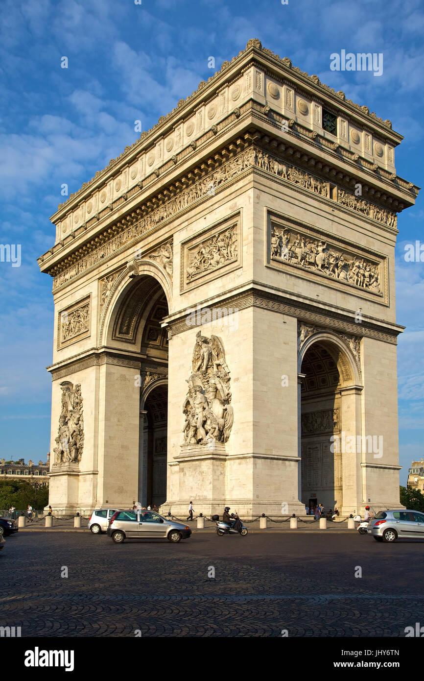 Arc de Triomphe in the Champs-Elysees, Paris, France - Arc de Triomphe At Champs-Elysees, France, Paris, Arc de Stock Photo