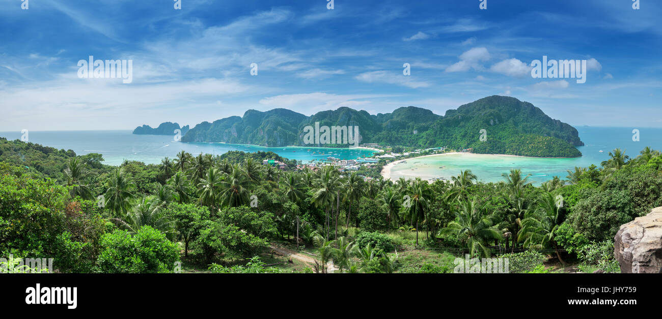 View point of Phi Phi Island from high place at sunset time, Krabi, Thailand - Stock Image