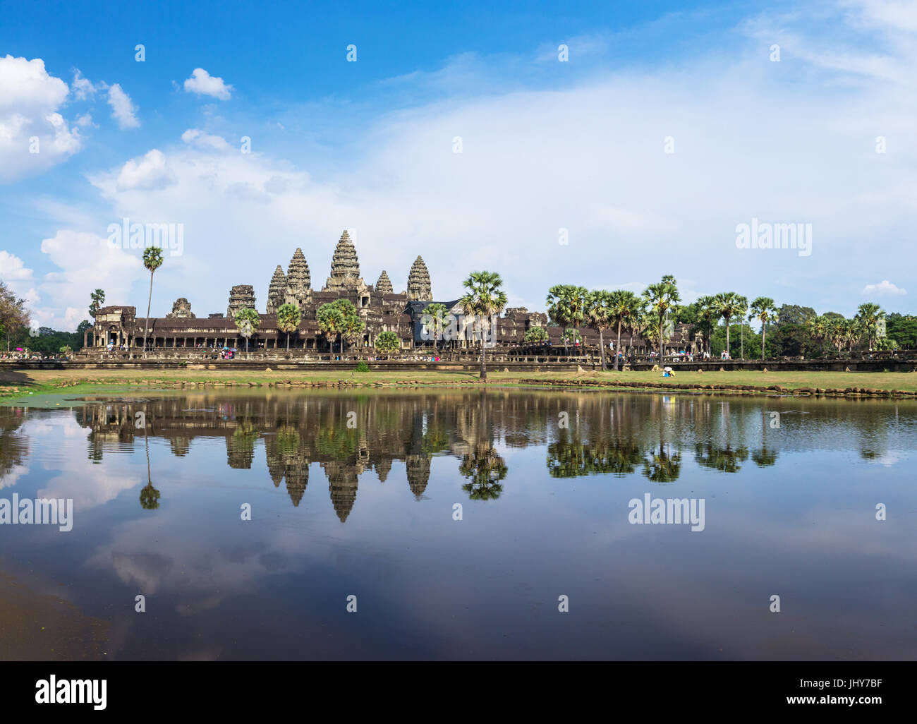Angkor Wat day time reflection on the lake panorama - Stock Image