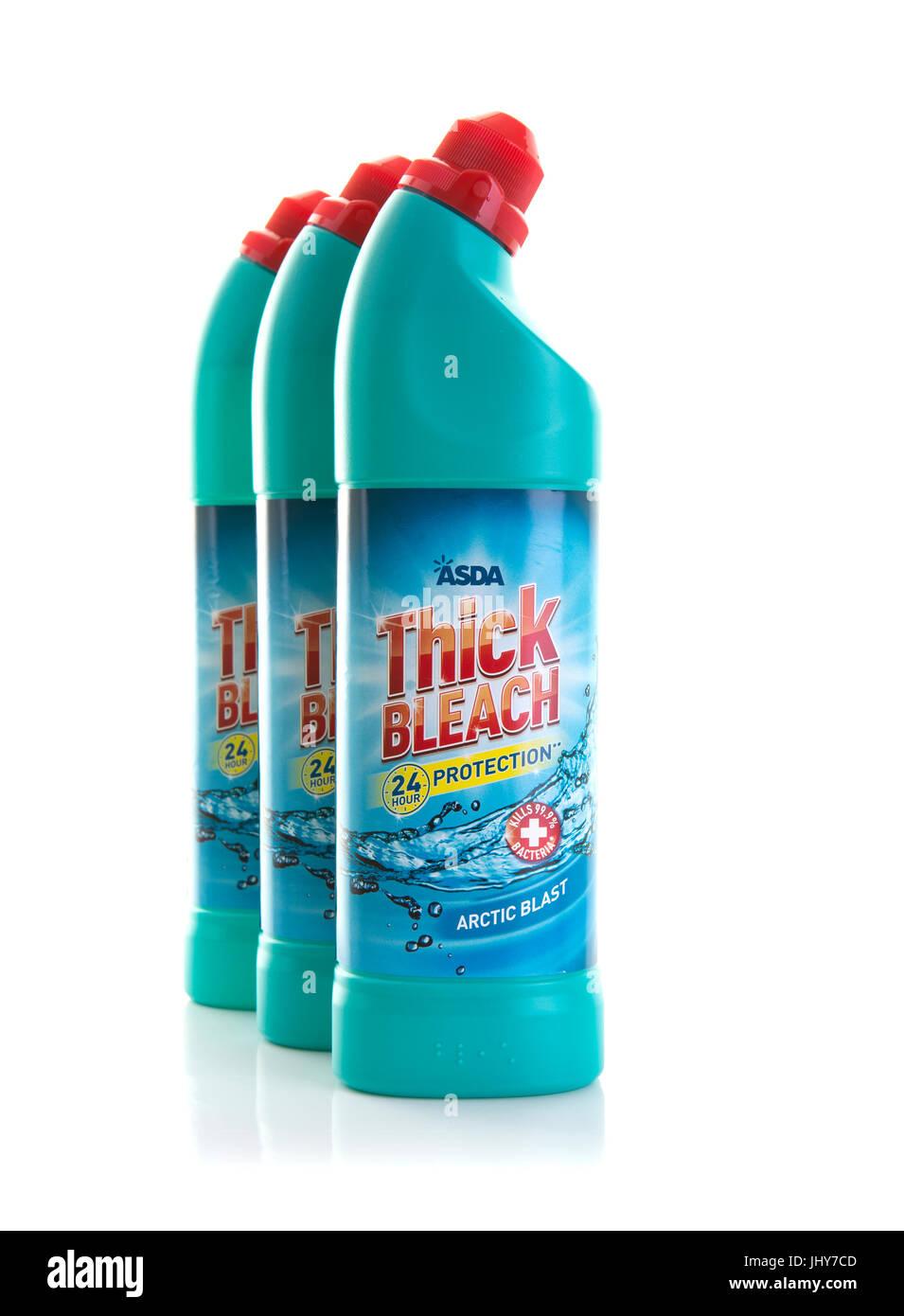 SWINDON, UK - JULY 16, 2017: Three Bottles of ASDA Thick Arctic Blast Bleach on a White background - Stock Image