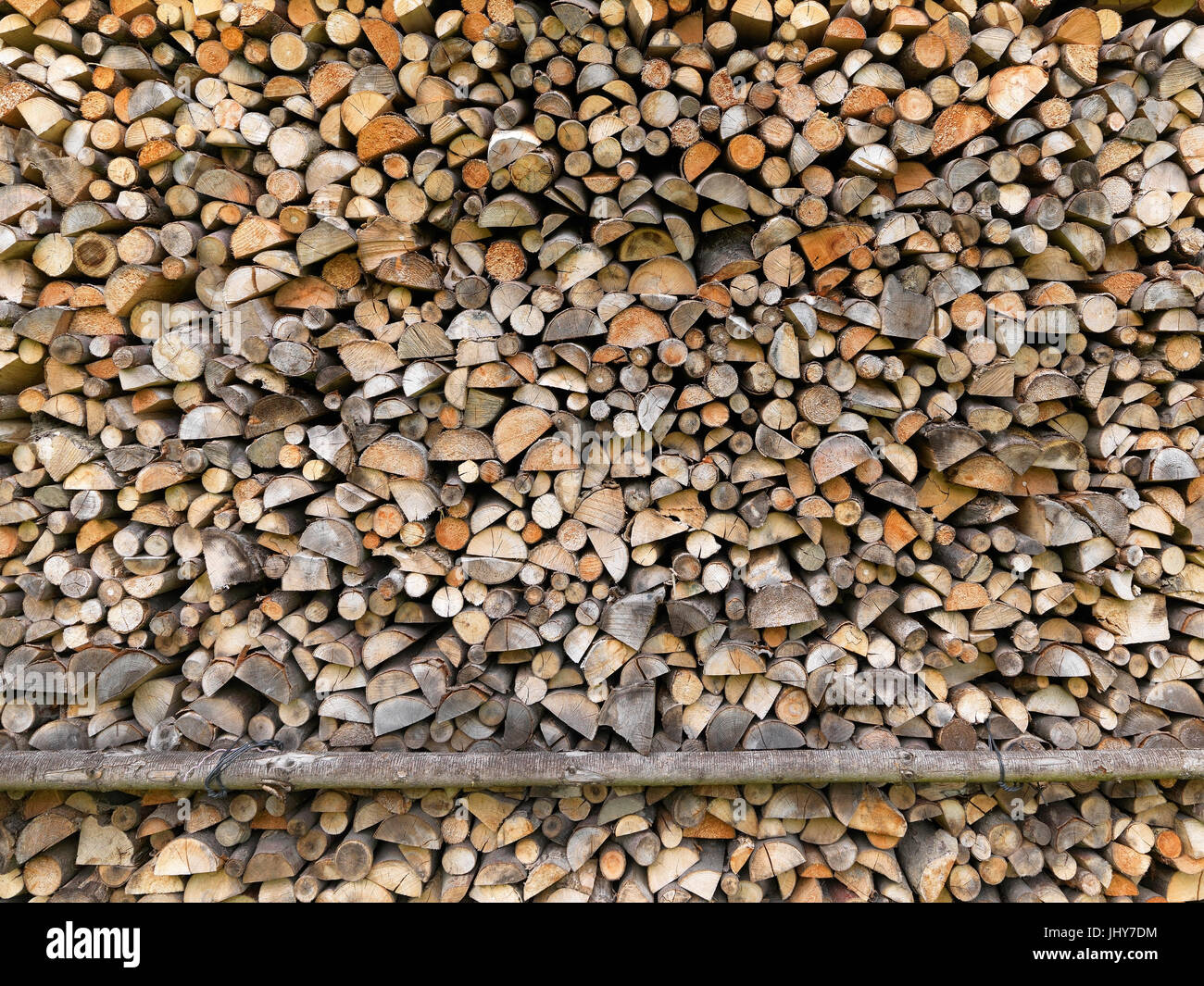 Wooden pile - Firewood, Holzstapel - Firewood - Stock Image