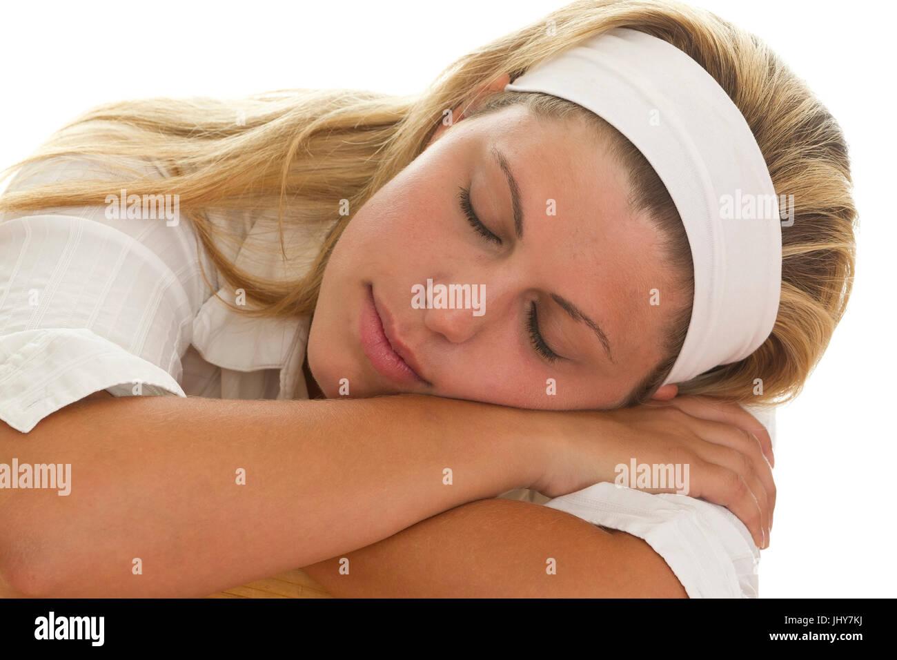 Sleeping young woman - Young woman is sleeping, Schlafende junge Frau - Young woman is sleeping - Stock Image