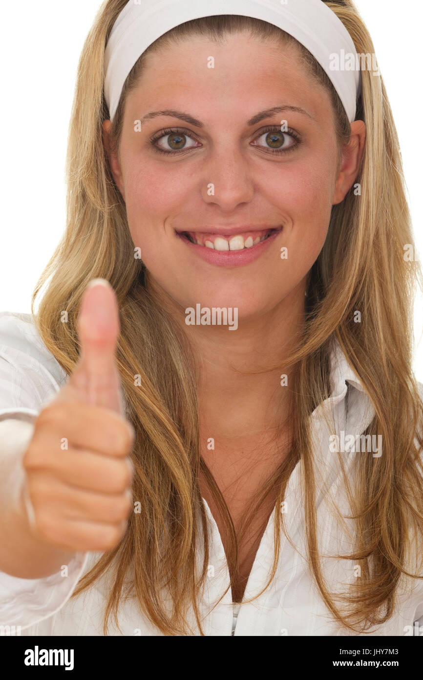 Young woman, thumb high - Young woman, thumb showing up, Junge Frau, Daumen hoch - Young woman - Stock Image