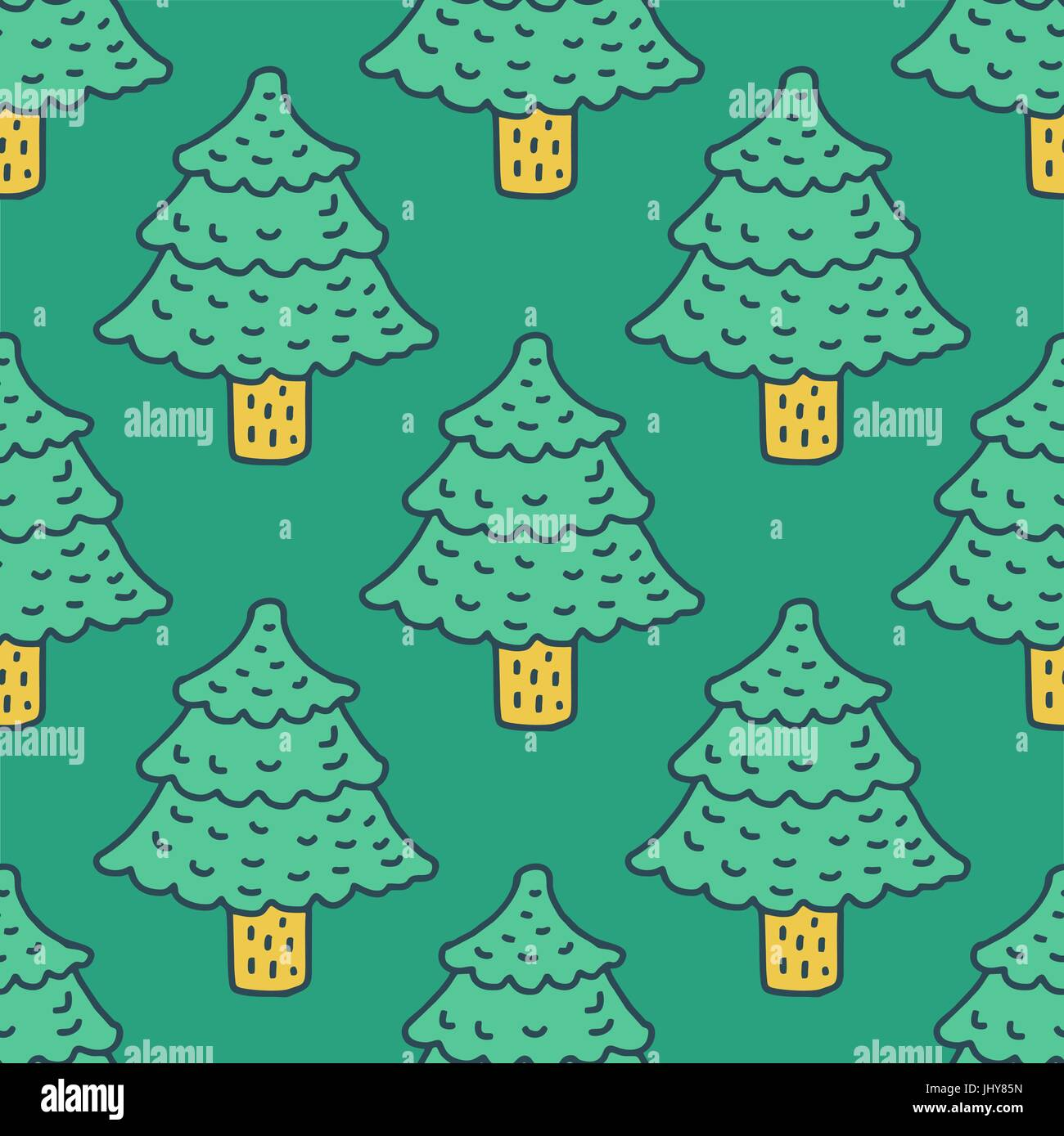Christmas tree drawing pattern. Fir cartoon style. spruce