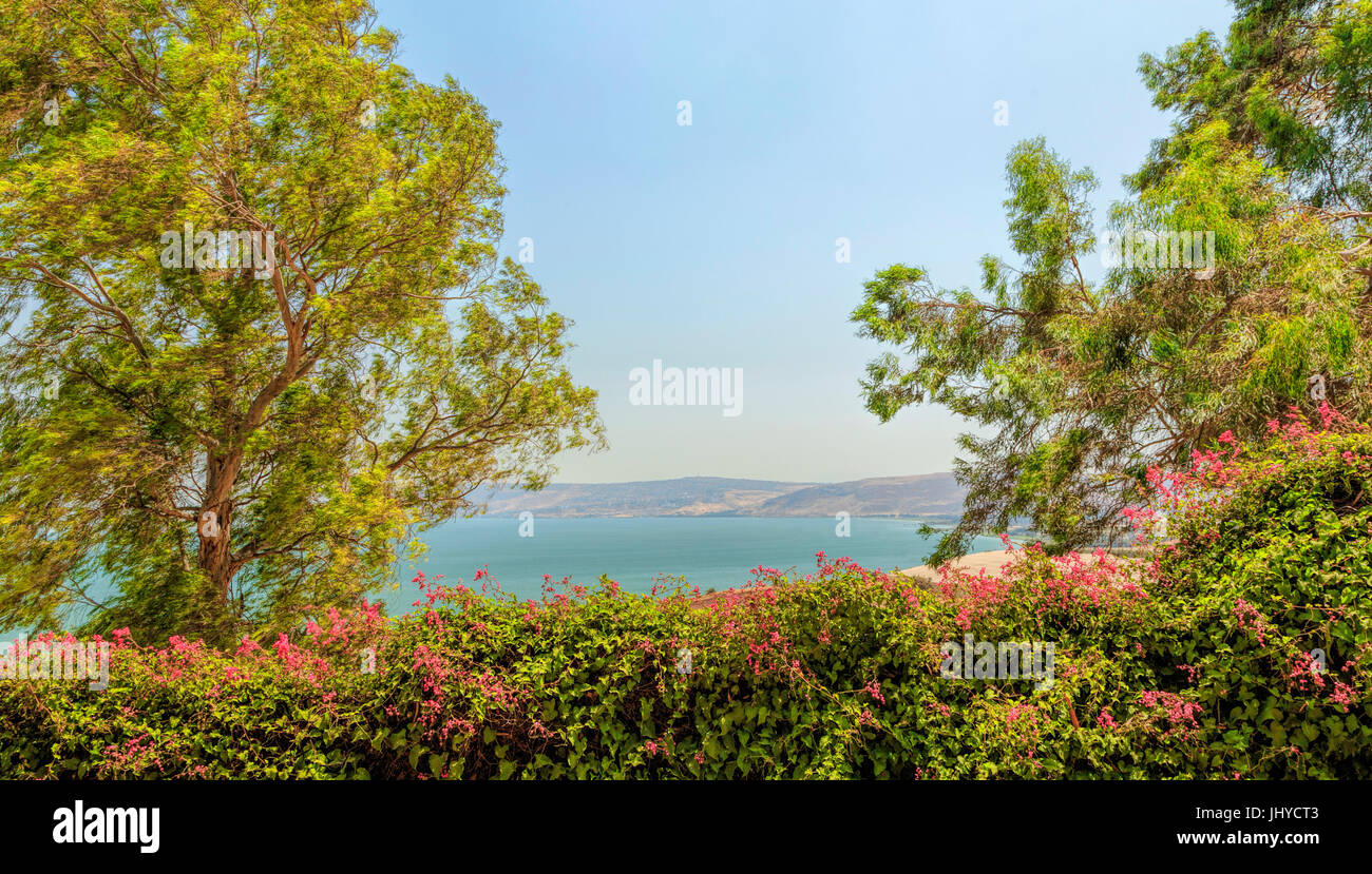 Colorful vista from the Garden of Beatitudes Church on the Sea of Galilee, Mount of Beatitudes, Kinnerot, Israel. Stock Photo