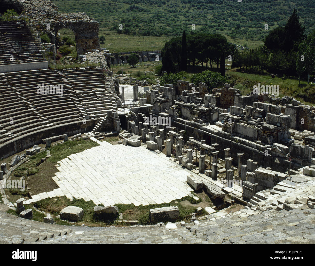 Turkey. Ephesus. Ancient Greek city on the coast of Ionia. View of Grand Theater. Hellenistic period and remodeled - Stock Image