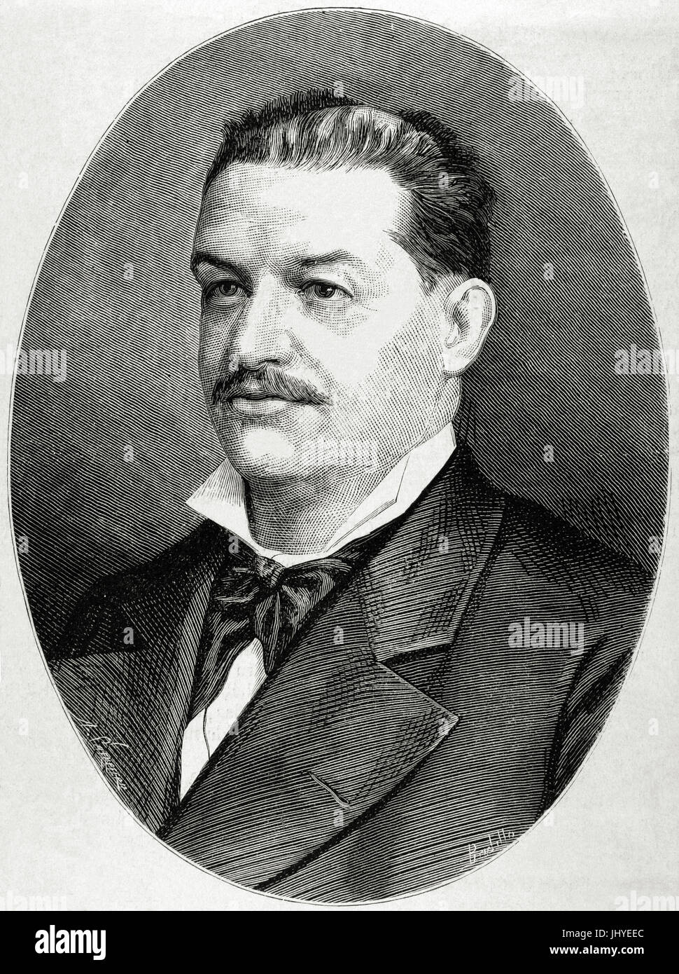 Mariano Vazquez Gomez (1831-1894). Spanish composer and pianist. Engraving by Arturo Carretero (1852-1903) in The - Stock Image