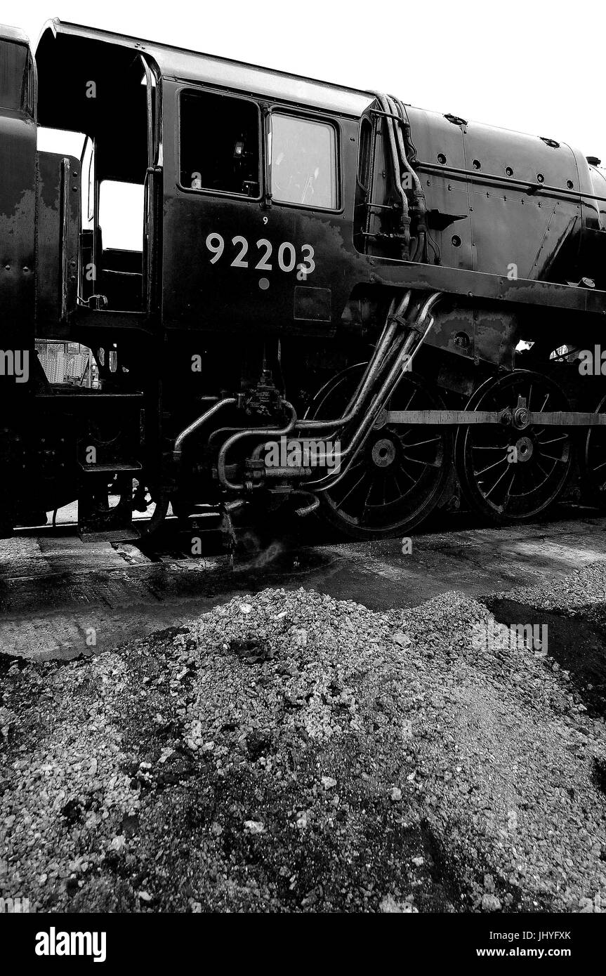 92203 'Black Prince' on shed at Toddington, Gloucestershire Warwickshire Railway. - Stock Image