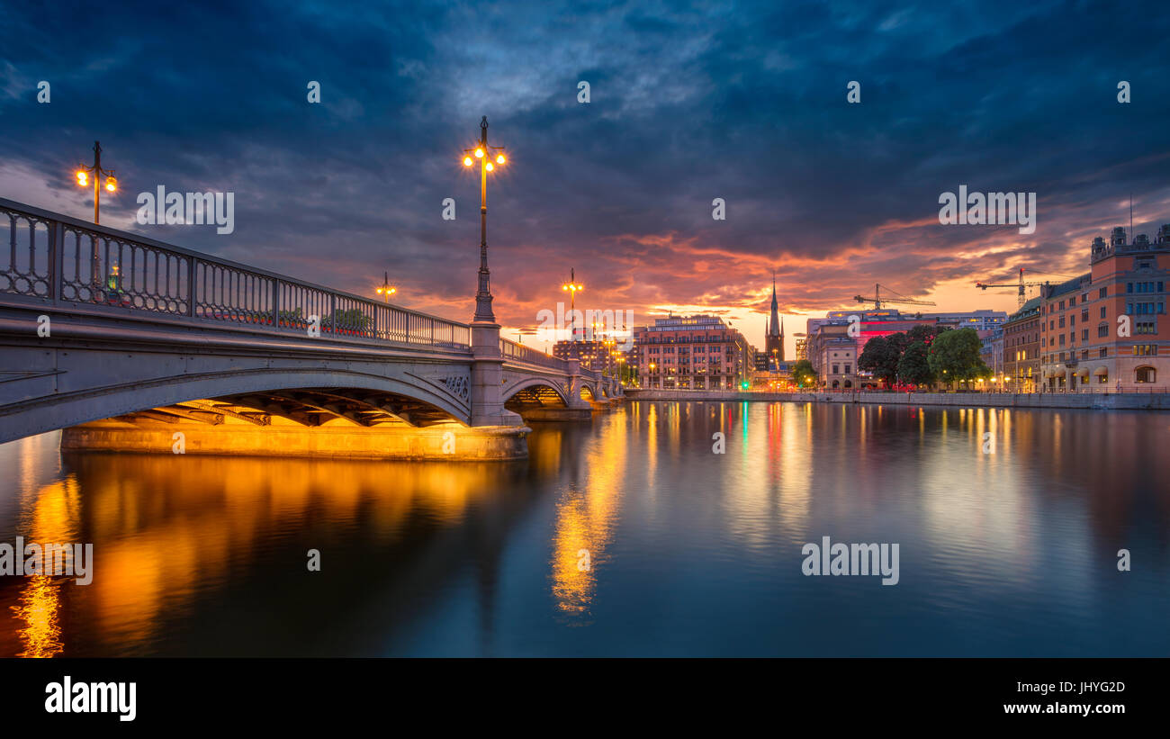 Stockholm. Panoramic image of old town Stockholm, Sweden during sunset. - Stock Image