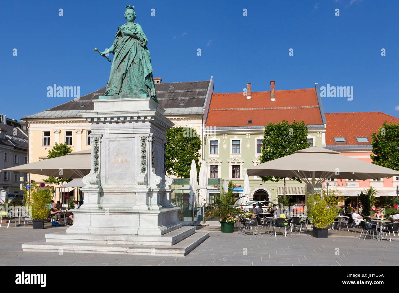 Maria Theresia statue, Klagenfurt, new place, Carinthia, Austria - statue of Maria Theresia on new place Square - Stock Image