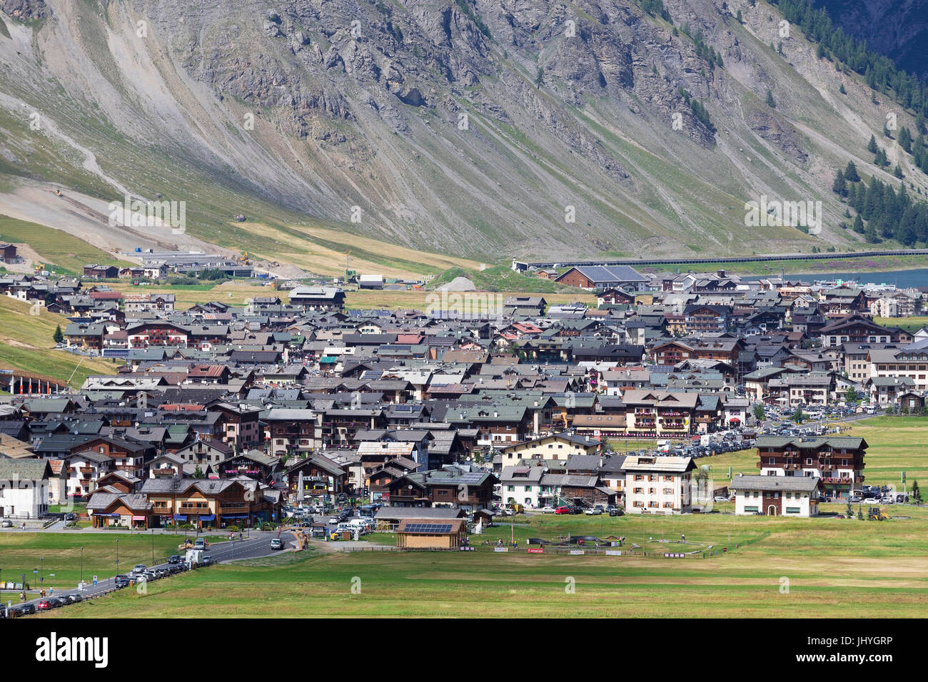 The place Livigno, province of Sondrio, Lombardy, Italy - Village Livigno, Sondrio region, Lombardy, Italy, Die - Stock Image