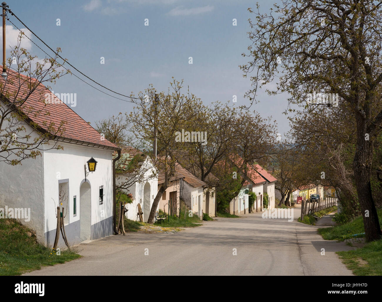 Cellar lane in village Stoitzen, wine quarter, Lower Austria, Austria - Village village Stoitzen, wine quarter region, Stock Photo