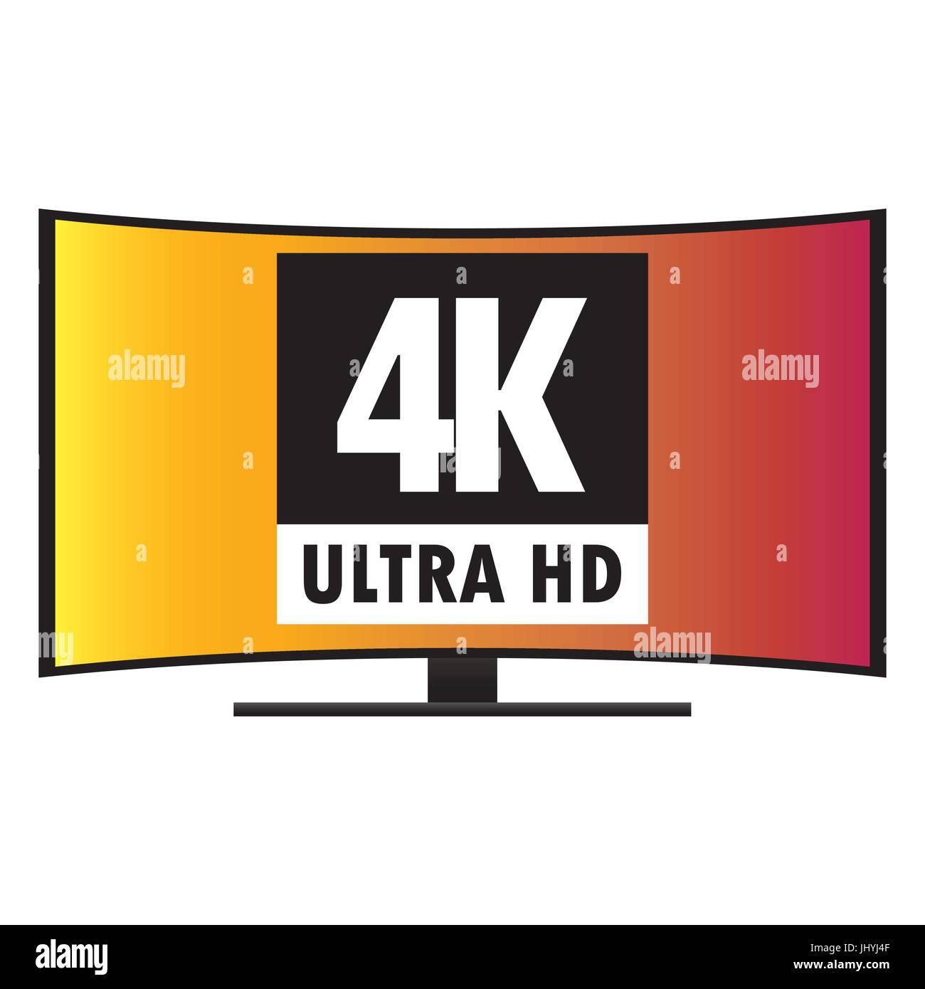 4K Ultra HD Modern Curved Screen Smart TV, vector - Stock Image