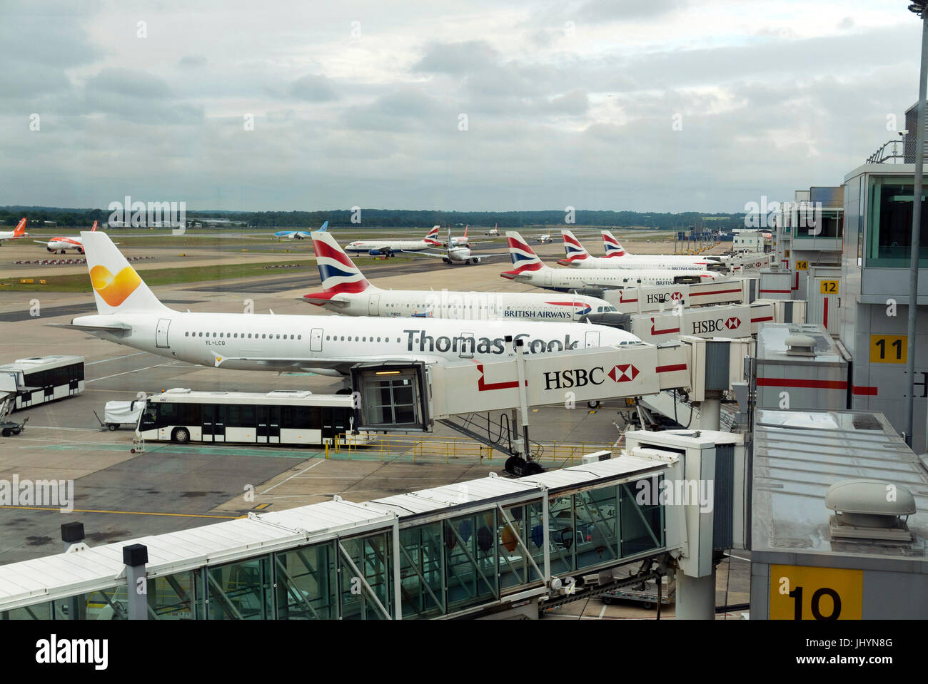 Aircraft stands at Gatwick Airport UK. - Stock Image