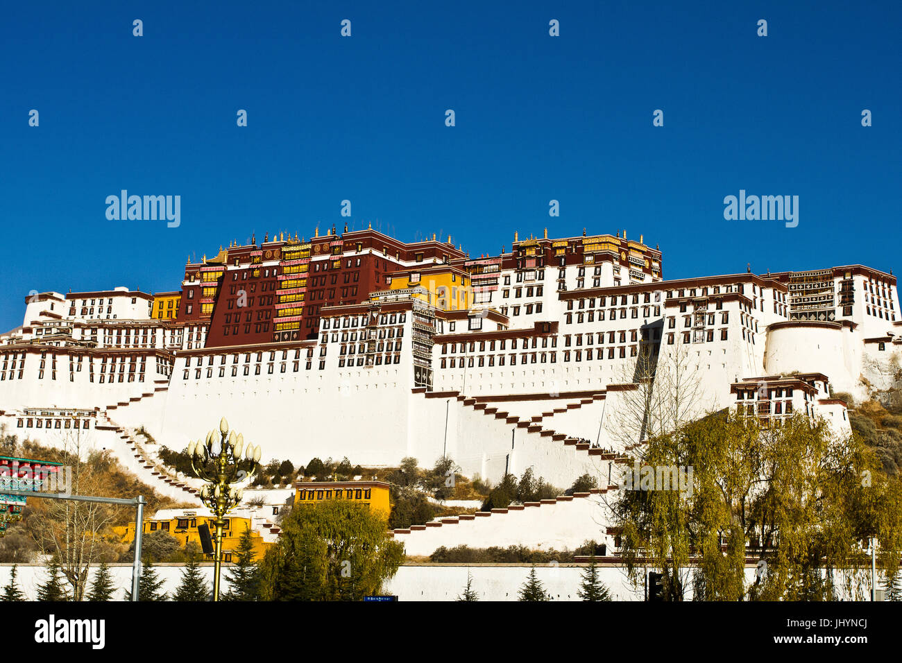 The Potala Palace under blue sky, UNESCO World Heritage Site, Lhasa, Tibet, China, Asia - Stock Image