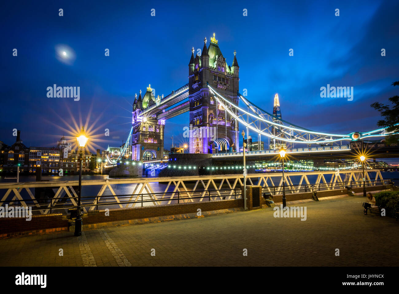 A moonlit evening in London with a view of Tower Bridge and the Shard behind, London, England, United Kingdom, Europe - Stock Image