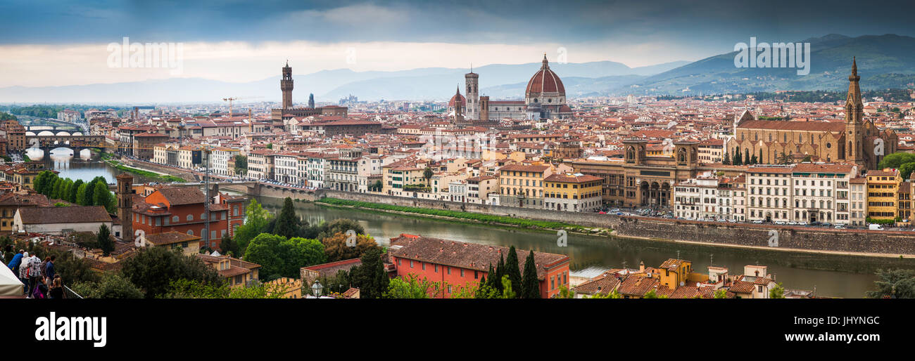 Florence panorama from Piazzale Michelangelo, Florence, Tuscany, Italy, Europe - Stock Image