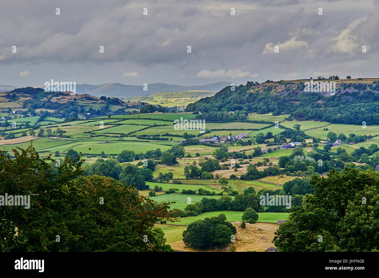View to the North from triangulation point, Cartmel Fell, South Lakeland, Cumbria, England, United Kingdom, Europe - Stock Image