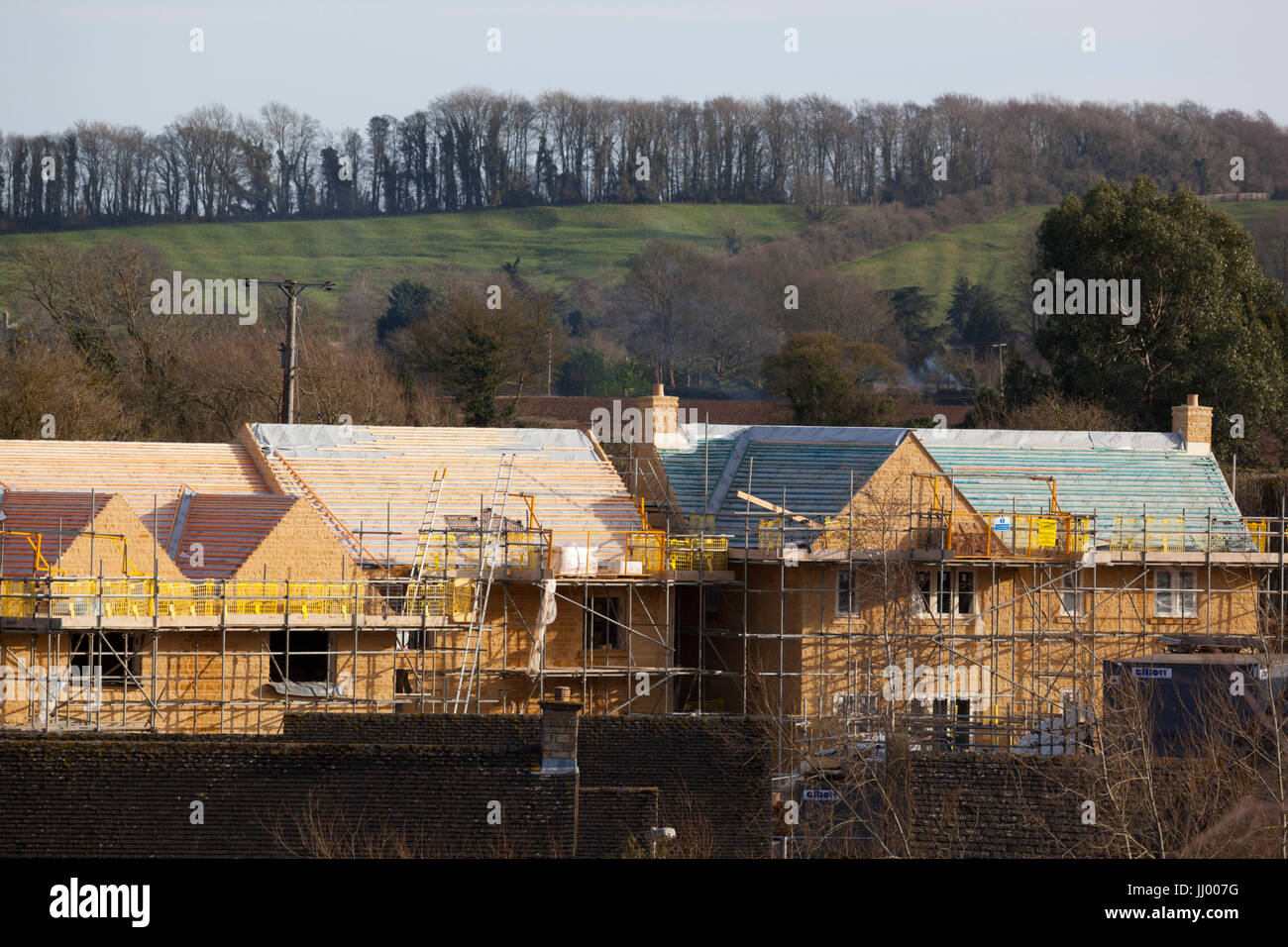 New houses being built in Cotswold countryside, Chipping Campden, Cotswolds, Gloucestershire, England, United Kingdom, - Stock Image