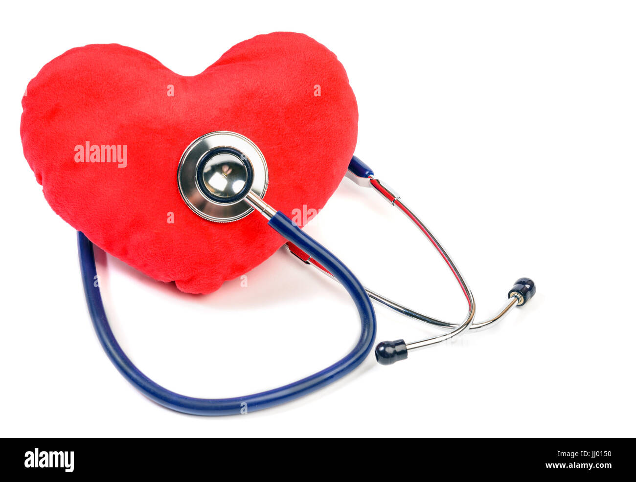 Red heart and  stethoscope over white - Stock Image