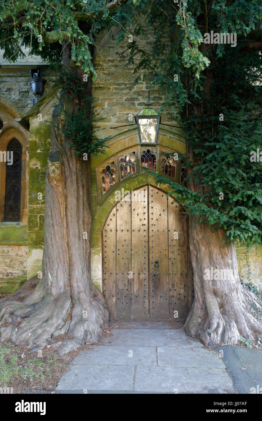 Yew trees and door of St Edward's church, Stow-on-the-Wold, Cotswolds, Gloucestershire, England, United Kingdom, - Stock Image