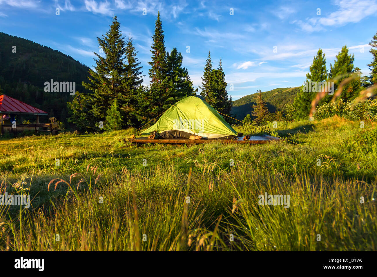 Green Tent In A Camping Base Camp The Mountains