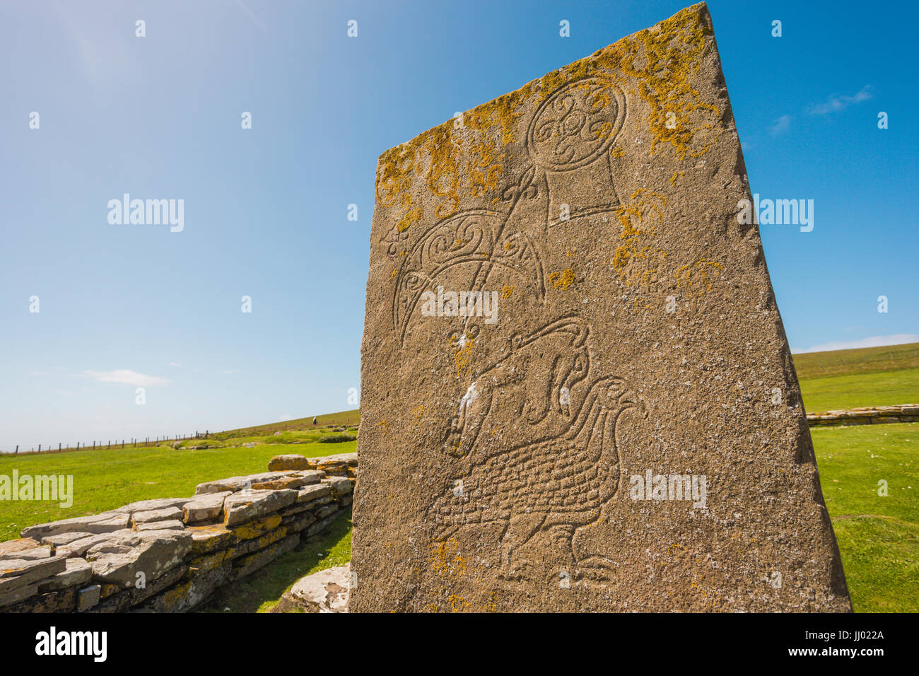 Pictish symbol stone, Brough of Birsay, Orkney Scotland UK Stock Photo