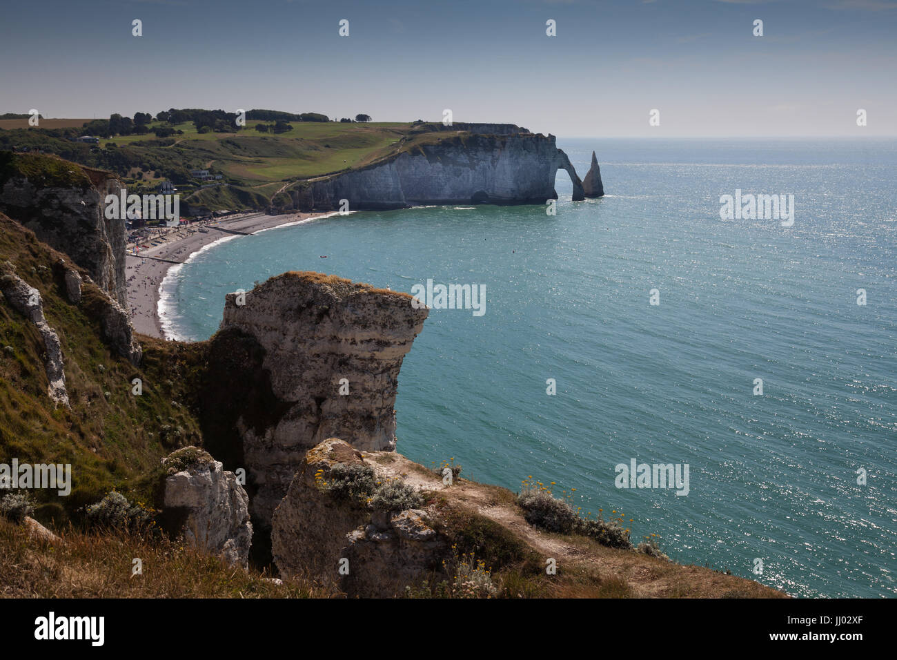 Etretat beach and coast - Stock Image
