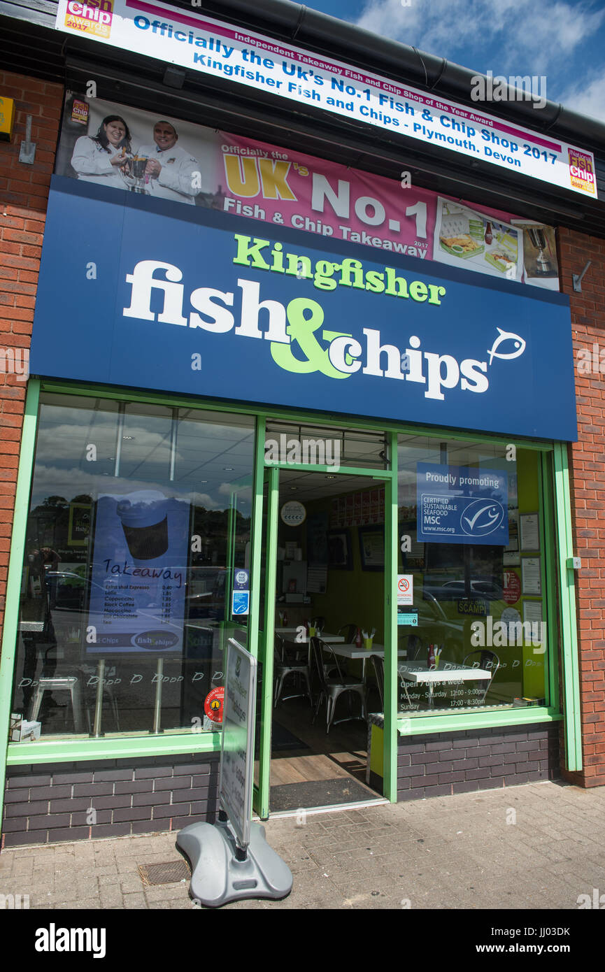 Copyrighted Image by Paul Slater/PSI - Craig Maws - Kingfisher Fish and Chips, Chaddlewood, Plymouth. - Stock Image