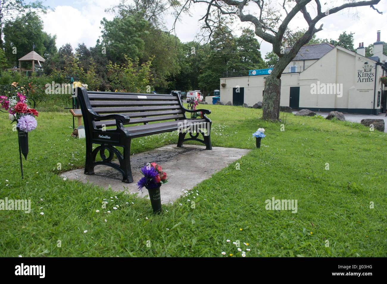 Paul Slater/PSI - Tanis Bhandari memorial seat, Tamerton Foliot. He was killed by Donald Pemberton and Ryan Williams. - Stock Image