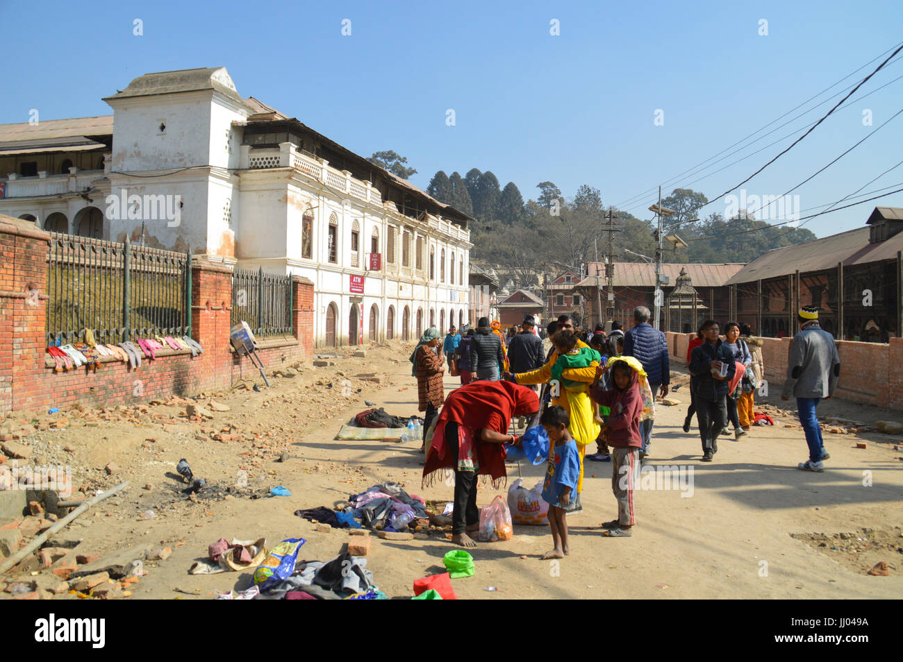 The dusty streets of Kathmandu city Nepal in it's slow recovery after the earthquake Stock Photo