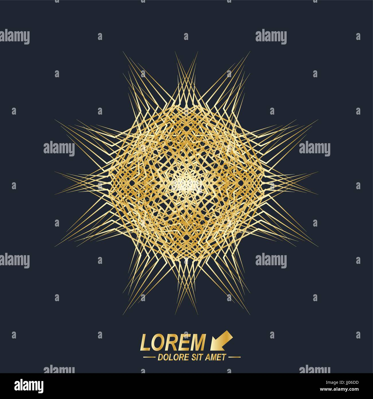 Fractal golden element. Virtual background communication or particle compounds. Digital data visualization, minimal - Stock Image