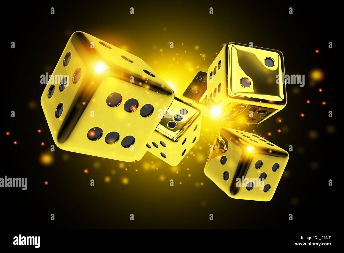 Golden Dice Casino Game 3d Rendered Concept Illustration Vegas Stock Photo Alamy