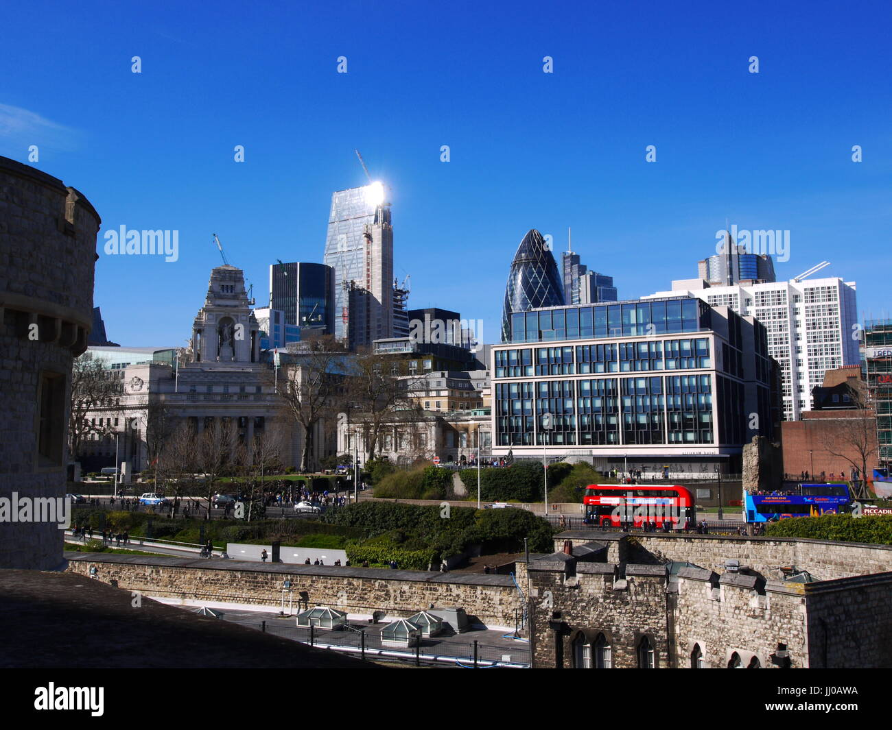 The City of London, from the Tower of London - Stock Image