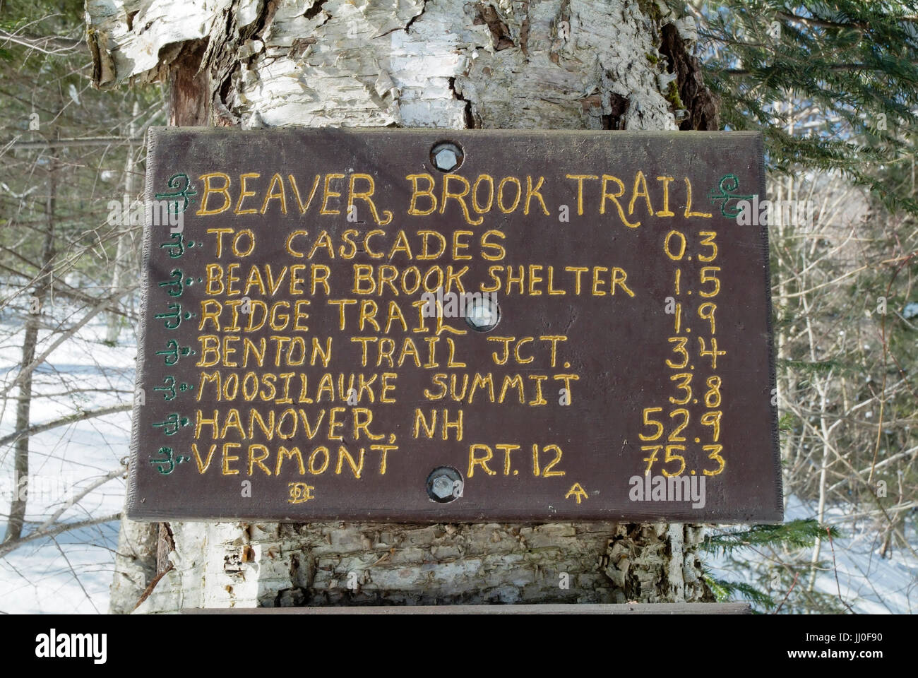 Warning sign along the Appalachian Trail (Beaver Brook Trail) in Kinsman Notch of the New Hampshire White Mountains. Stock Photo