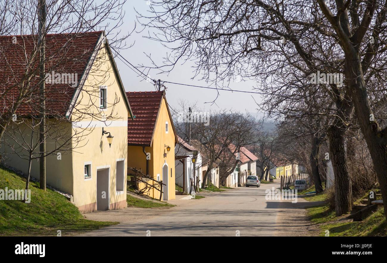 Cellar lane in village Stoitzen, wine quarter, Lower Austria, Austria - Village village Stoitzen, wine quarter region, Stock Photo